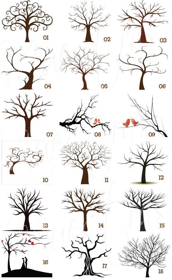 Arbol Huellas Imprimible Recuerdo Boda Xv Anos 300 00 Dibujos De Arboles Como Dibujar Arboles Arte De Arboles