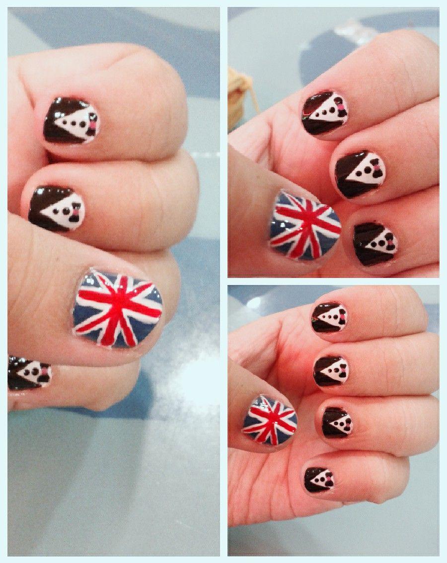 my England flag and tuxedo nails | nail art for short nails :D ...