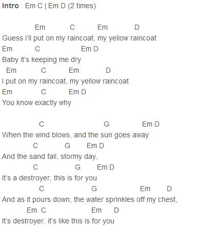 Justin Bieber Yellow Raincoat Chords Capo 1 Guitar 3