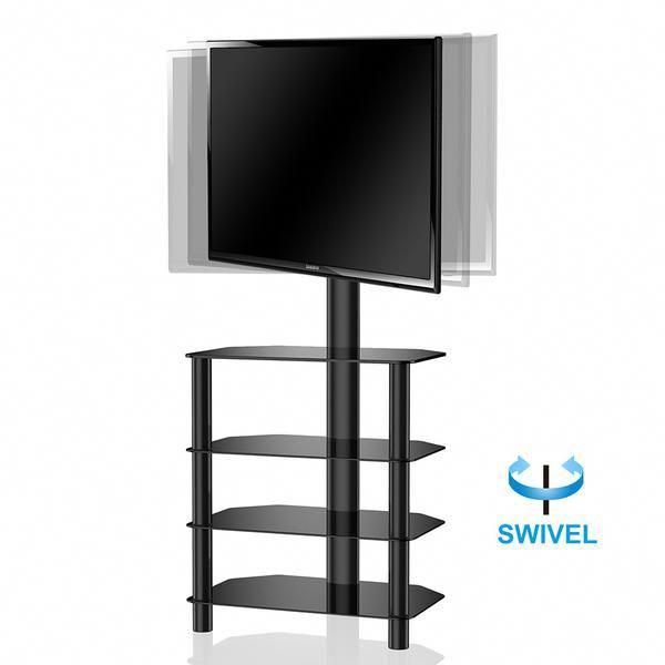 Fitueyes Height Adjustable Swivel Tempered Glass Tv Stand With Av