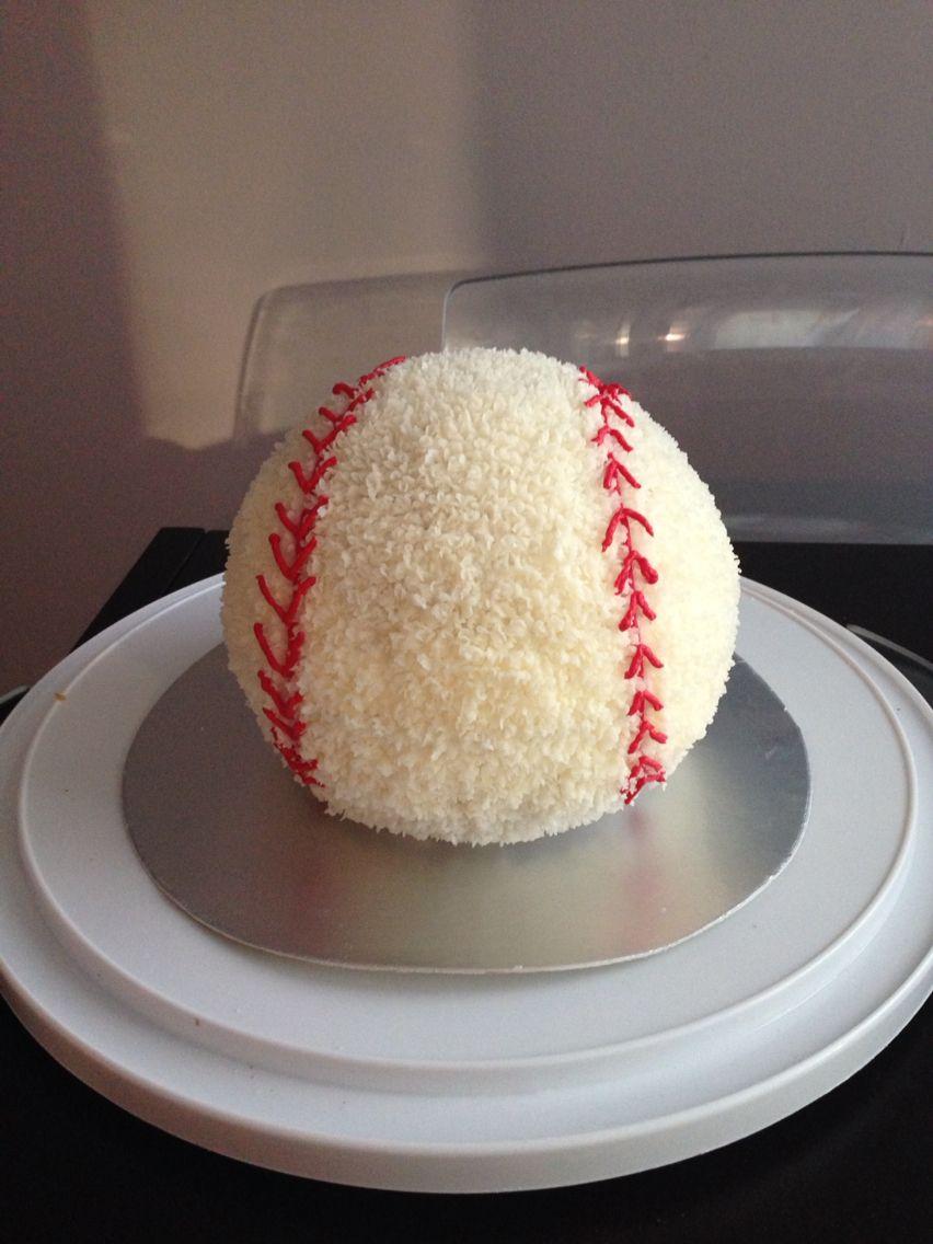 Baseball cake using wilton sports ball pan Corbin craftsideas