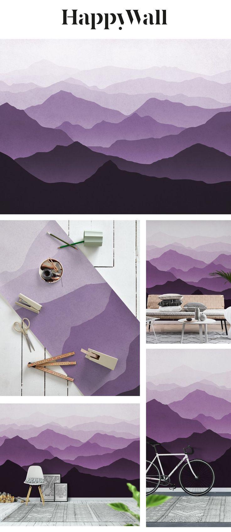 Purple mountains II Wall mural in 2020 Mountain mural