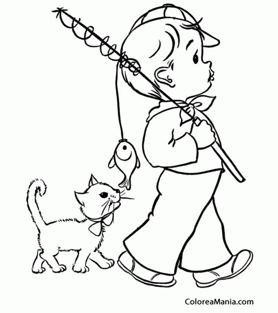 Colorear Niño de pesca con gatito | carmiña | Pinterest | Colores ...