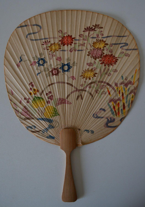 paddle fan bamboo and paper vintage japanese uchiwa fans