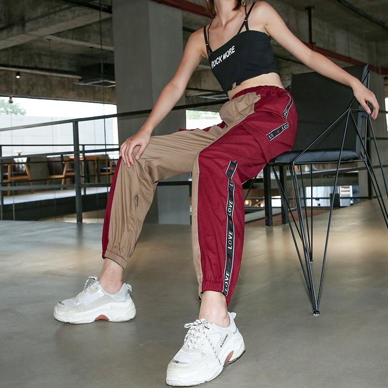 9e2e7d4ff Cotton Punk Rock Cargo Pants Spliced Panelled Womens Joggers Sweatpants Streetwear  High Waist Harajuku Pants Women