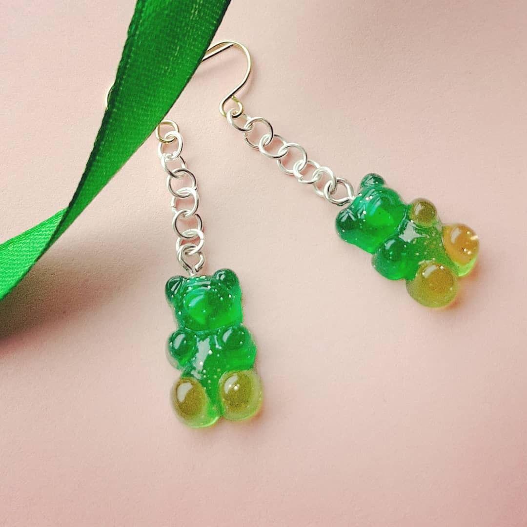 Green Gummy Bear Drop Earrings