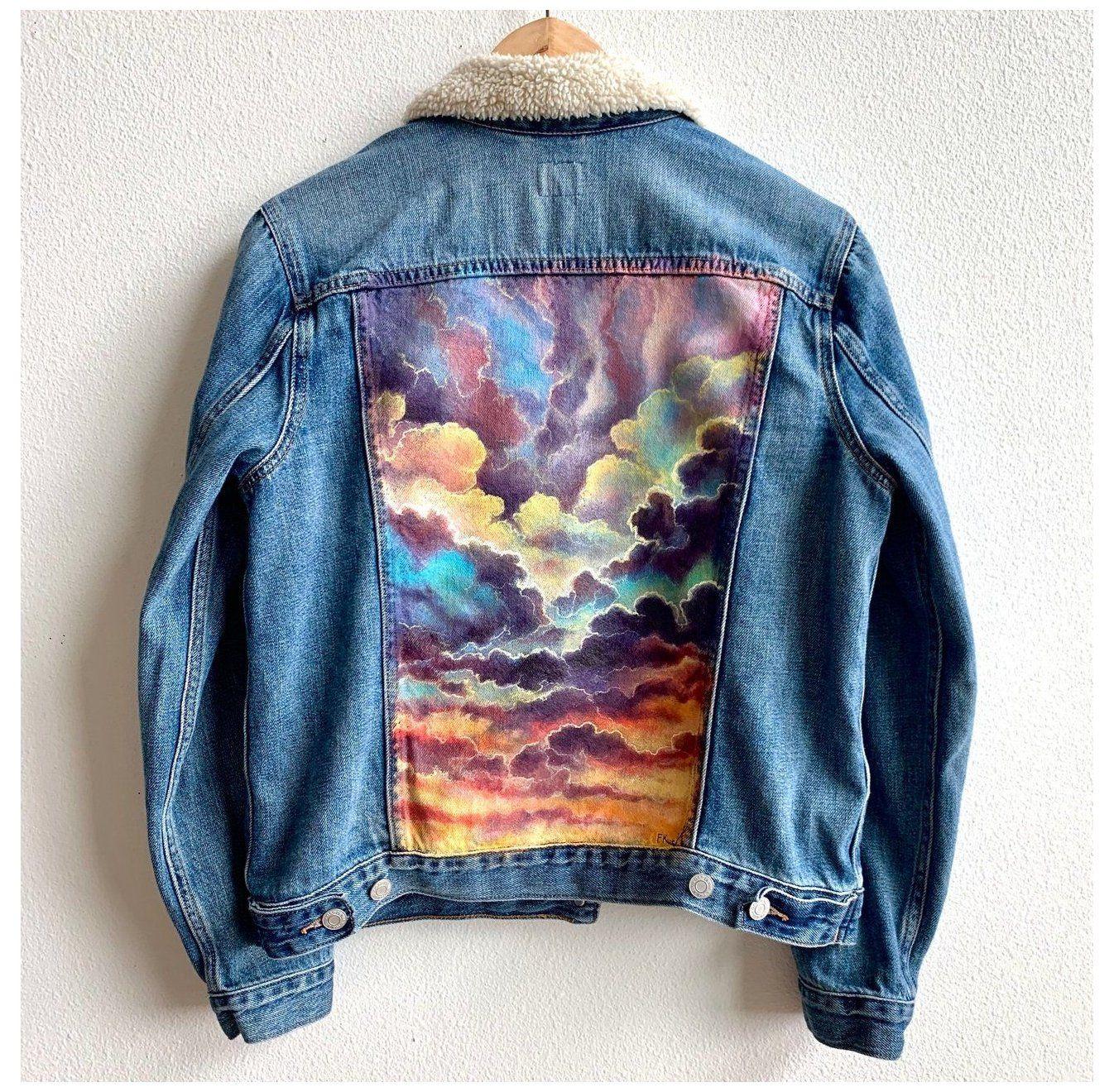Colorbyfeliks Original Jean Jacket Painting Women S Size Large Painted Jean Jacket Sunset Paintedjeanjacke In 2021 Painted Clothes Diy Diy Denim Jacket Diy Jacket [ 1320 x 1346 Pixel ]