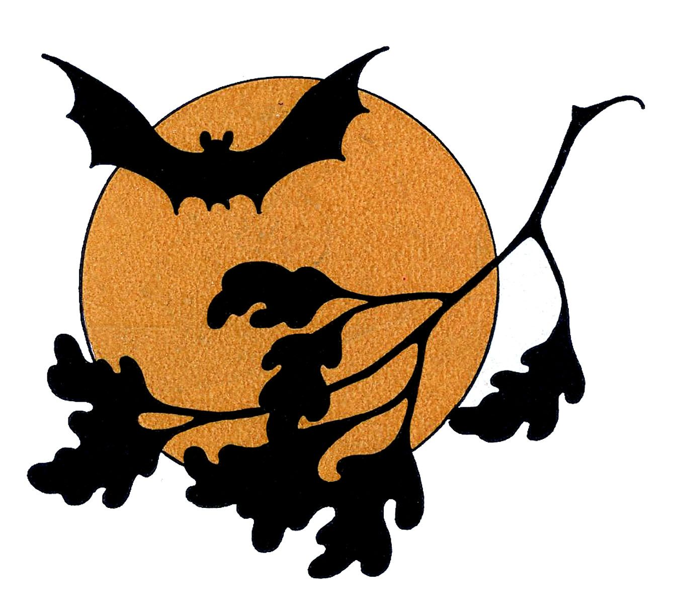 vintage halloween clip art bat with moon vintage halloween rh pinterest com Moon and Stars Vintage Moon Clip Art