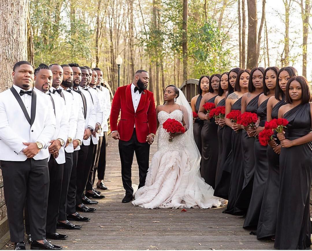 Black Bride On Instagram A Beautiful Bridal Party Captured In Perfect Formation Repost From J M Black Wedding Dresses Black Wedding Wedding Poses