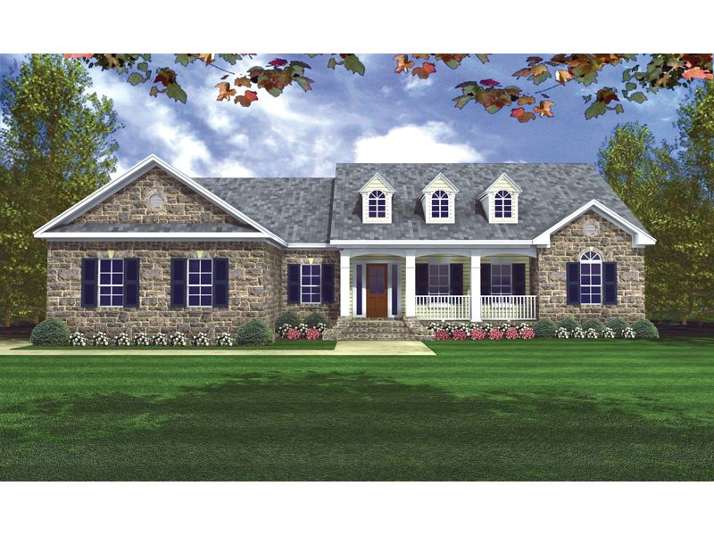 2,002sf Traditional Country Style Home With Covered Front ... on french house plans with dormers, small house plans with dormers, country home plans with dormers,