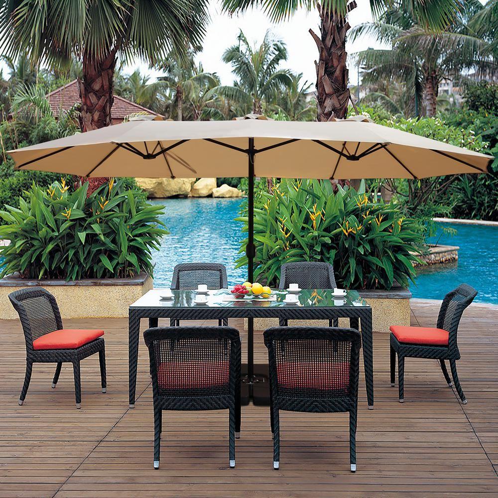 Maypex 15 Ft X 9 Ft Market Rectangular Outdoor Patio Umbrella In Tan 300321 T The Home Depot Outdoor Patio Umbrellas Patio Umbrella Patio