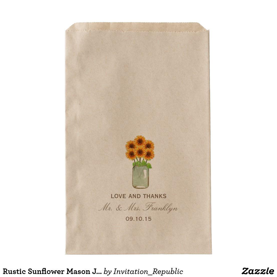 Rustic Sunflower Mason Jar Wedding Favor Bag | Wedding favor bags ...