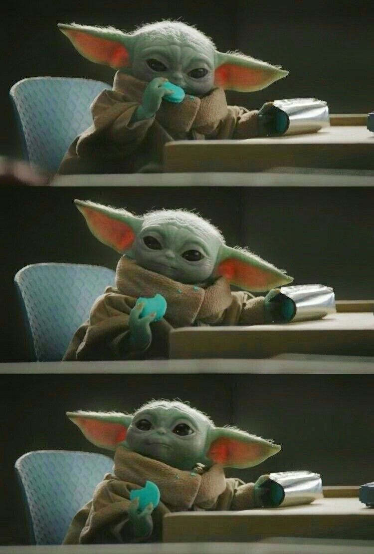 What Me Use The Force To Steal Yummy Cookies Never Star Wars Baby Yoda Wallpaper Star Wars Yoda