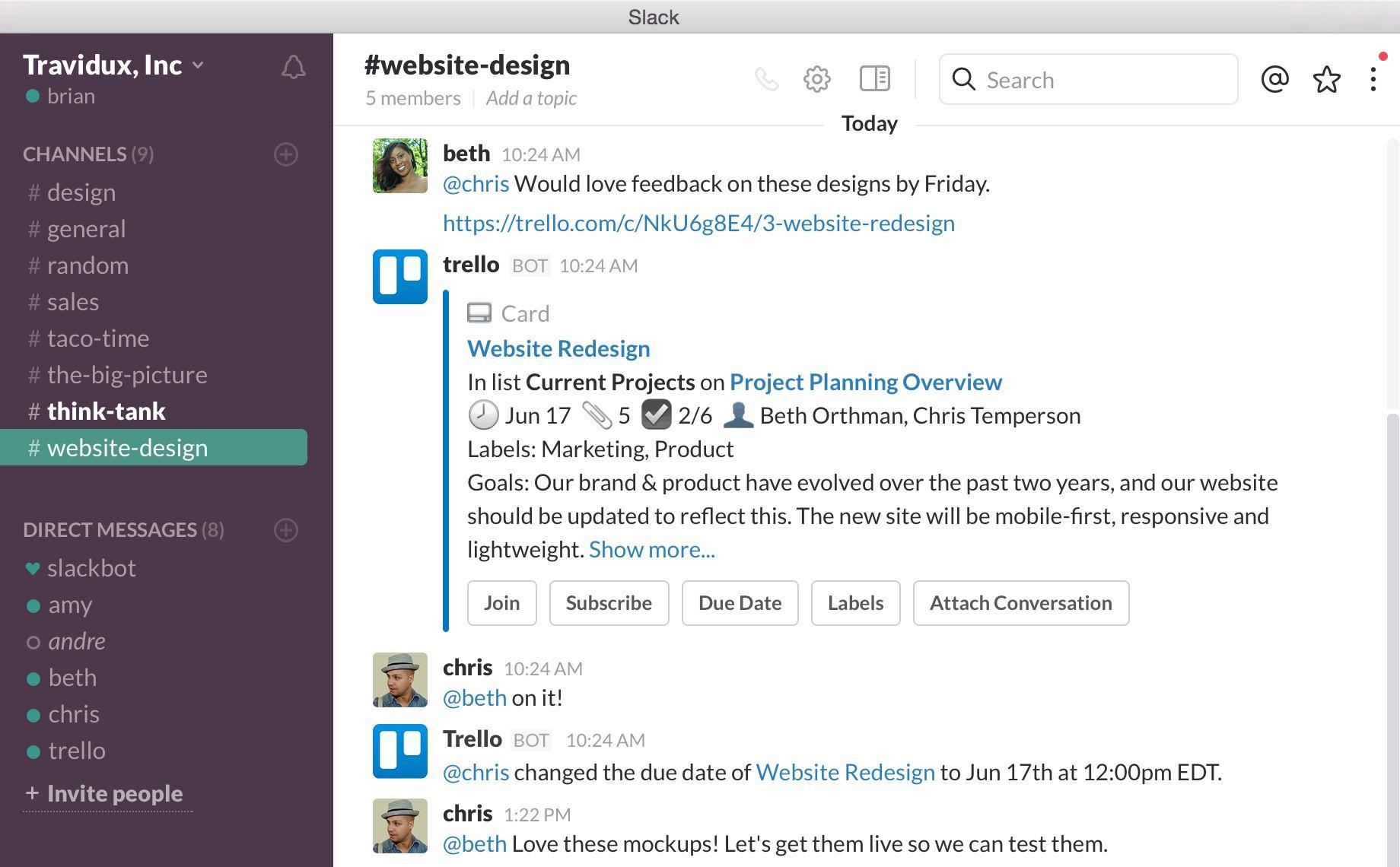 Introducing Trello For Slack Slack Software Website Redesign Time Website
