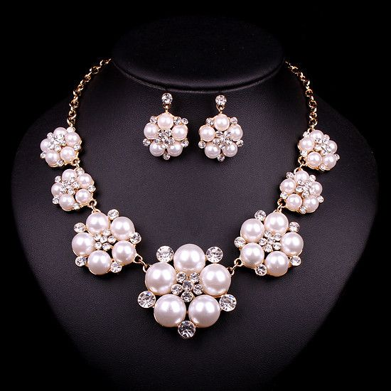 Trendy Indian Jewellery Wedding Party Accessories Gold Color Bridal Necklace Earrings Pearl Jewelry Set For Brides Decoration