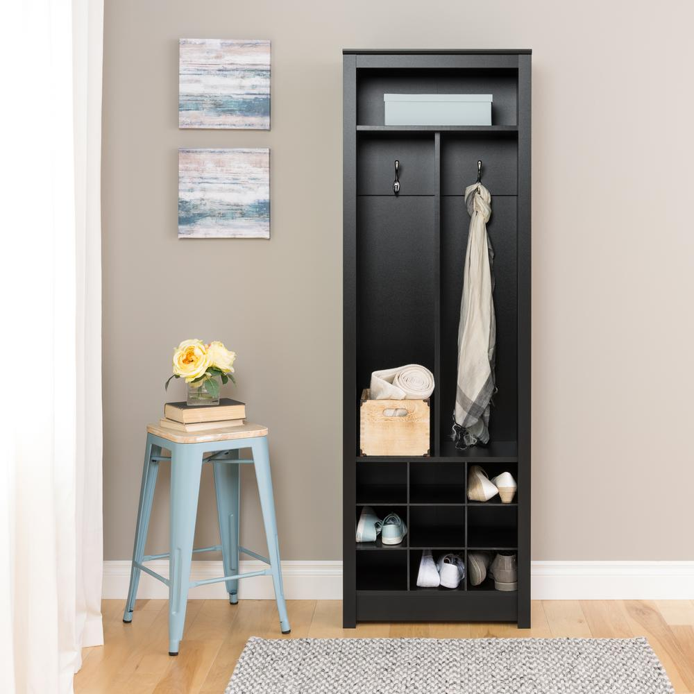 Narrow hallway furniture  Entryway Deep Black Laminate Hall Tree SpaceSaving Organizer with