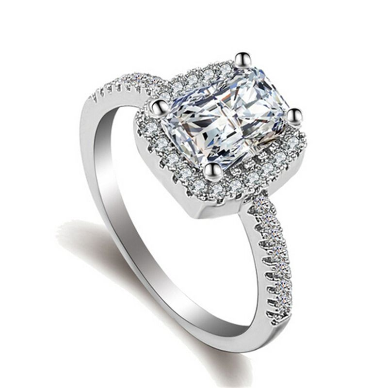 Wedding or Engagement AAA Zircon Square Ring