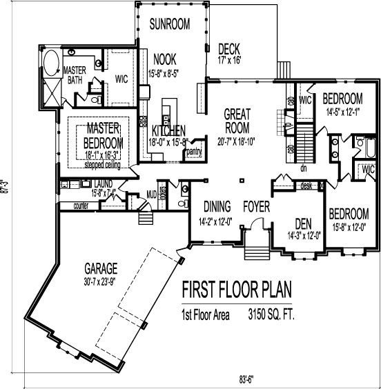 Image result for 4 bedroom 3 bath single story house plans for Single story house plans with 3 car garage