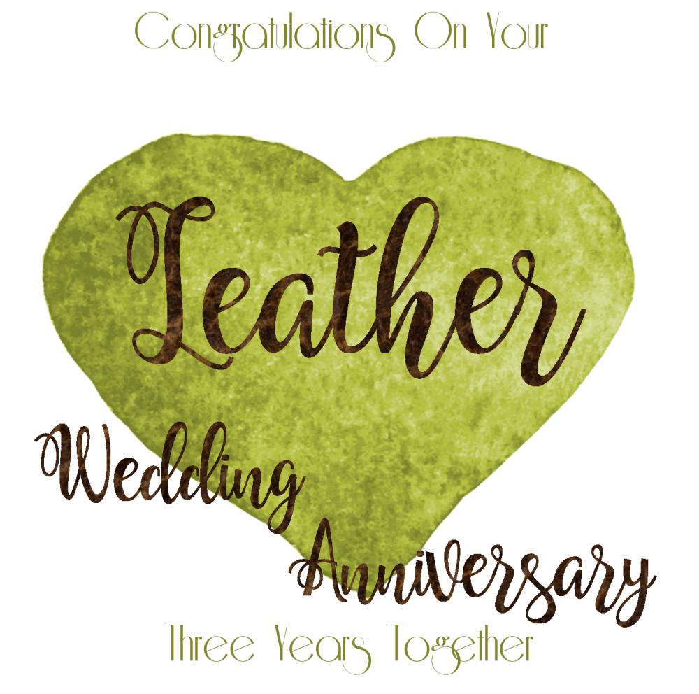 3rd wedding anniversary card  leather anniversary