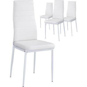 de Blanc coloris blanc PU 4 Lot design chaises revêtues de SzpUVGqM