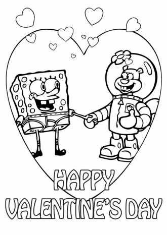 Раскраски- Валентинки для мальчиков / Спанч Боб и Белка ...
