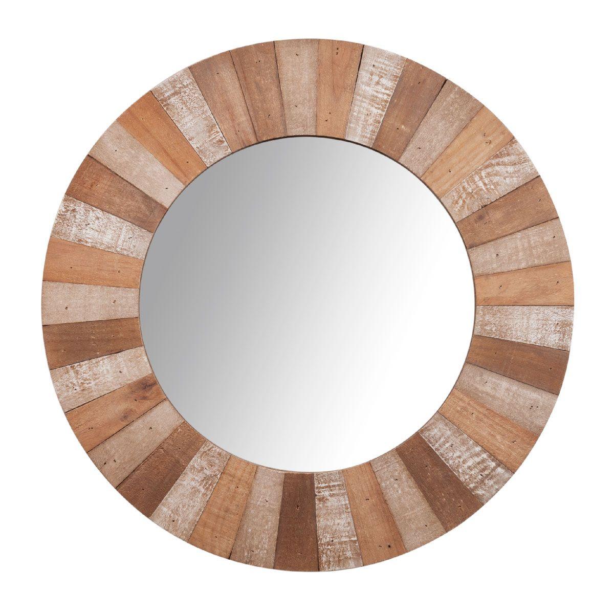 Espejo redondo con marco de madera D 60 cm KARI | marcos redondos ...