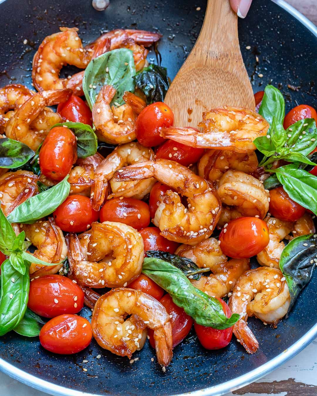 Easy Shrimp +Tomato + Basil Stir Fry for Clean Eats!