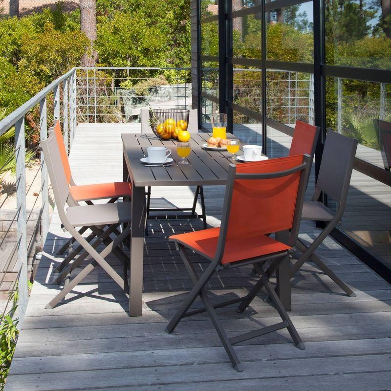 Table TRIESTE 130/180x80 en aluminium epoxy coloris CAFE allonge ...