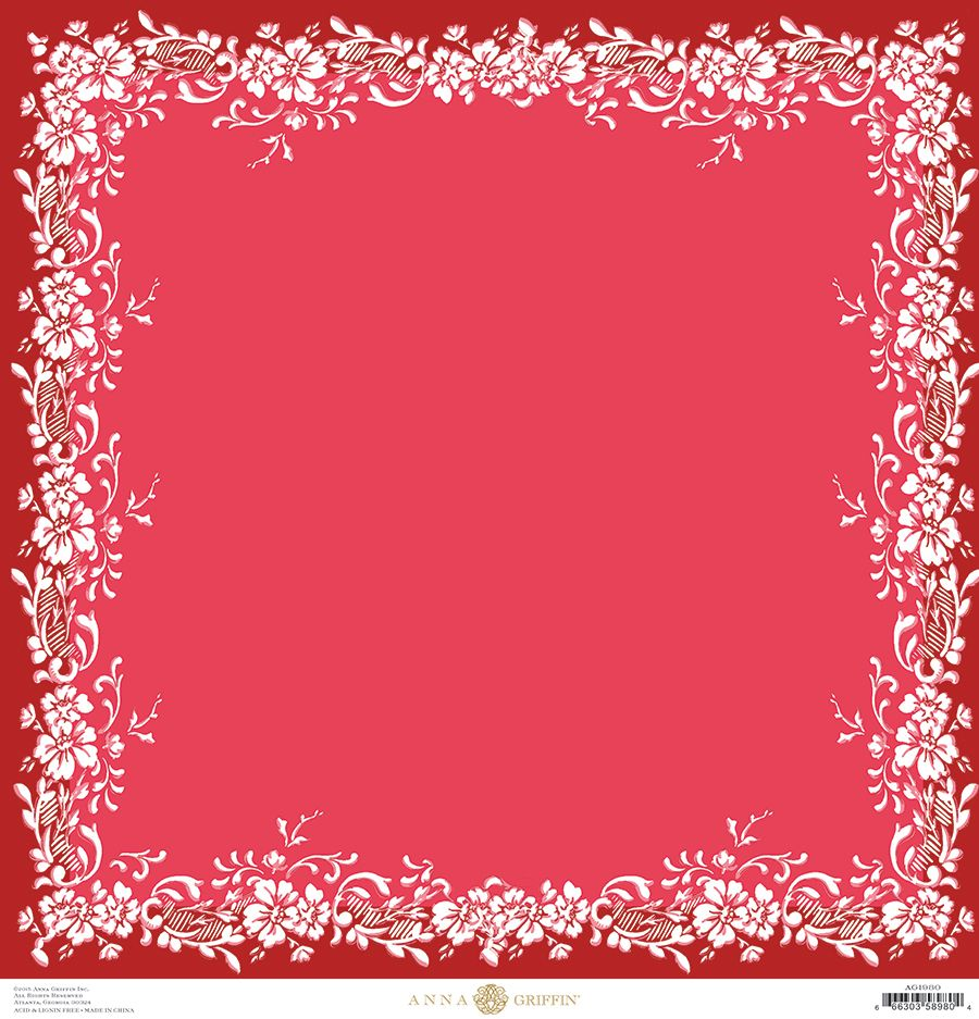 Juliet scrapbook ideas - Anna Griffin Juliet Collection 12 X 12 Paper Printed Border Red