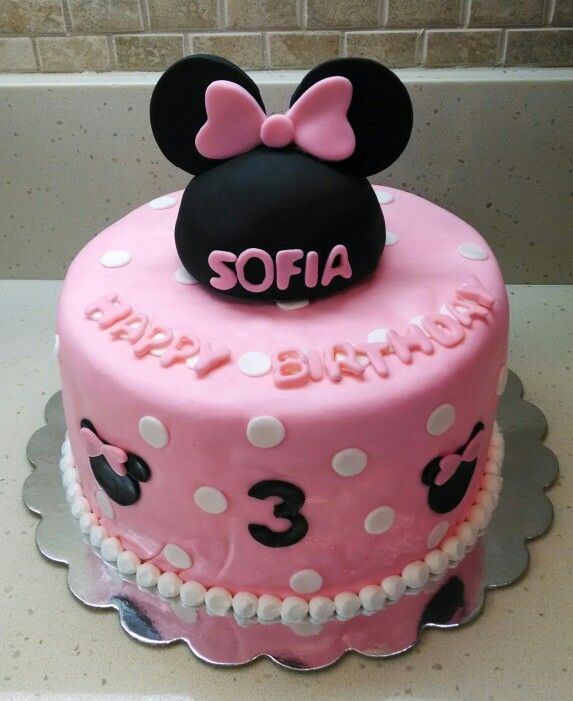 A Pink Minnie Mouse Cake For Sofia S 3rd Birthday Happy Birthday