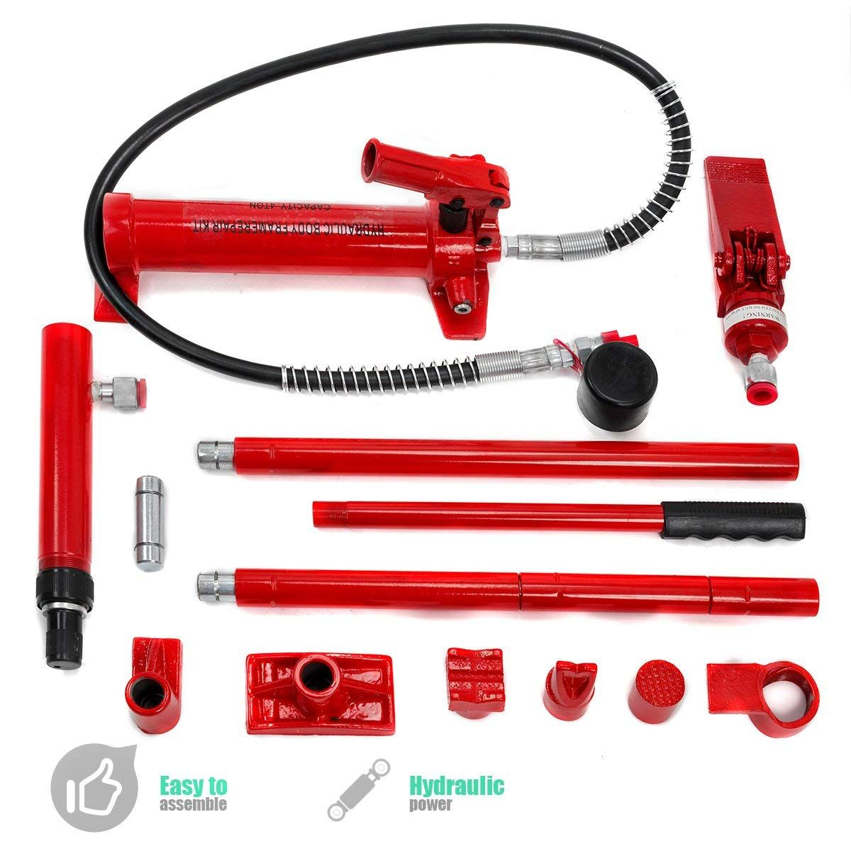 Xtremepowerus Hydraulic Porta Power Auto Body Frame Repair Kit 10 Ton Or 4 Ton Auto Body Repair Frame