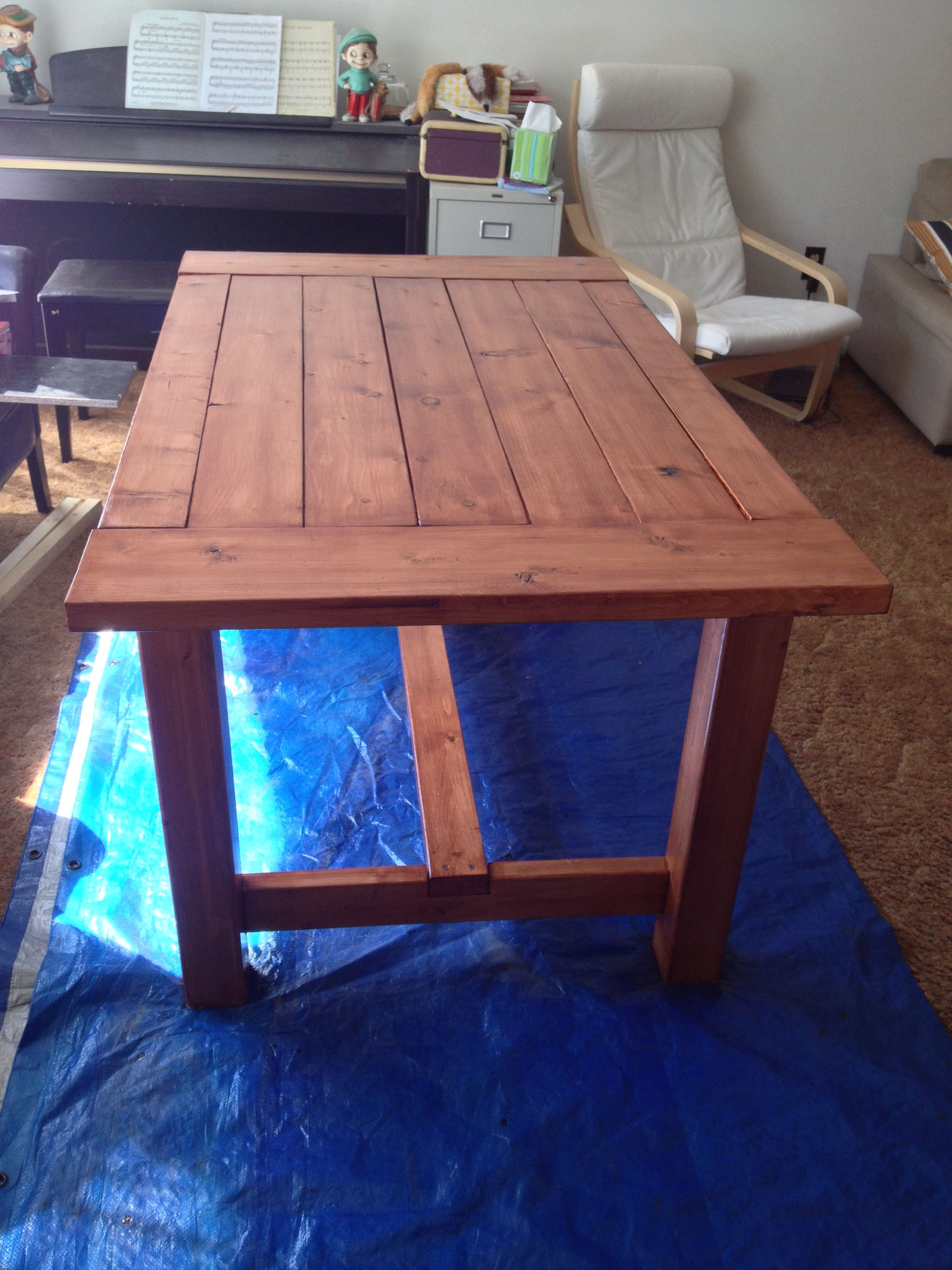 2 of 3 the table is built and stained