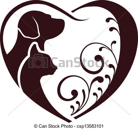 Vector - Cat dog love heart - stock illustration, royalty free ...