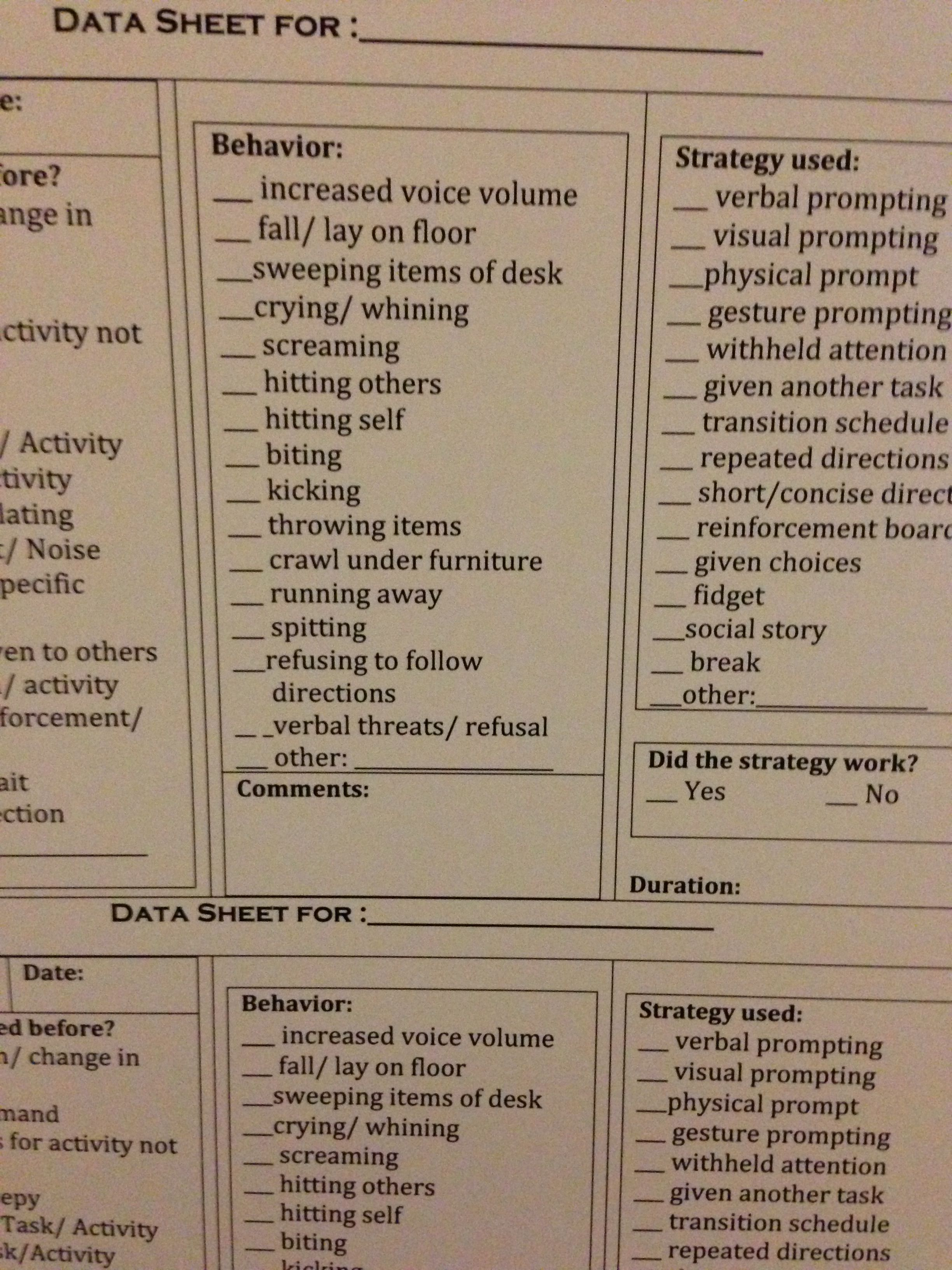 Easy To Use Abc Data Sheets Autism Classroom
