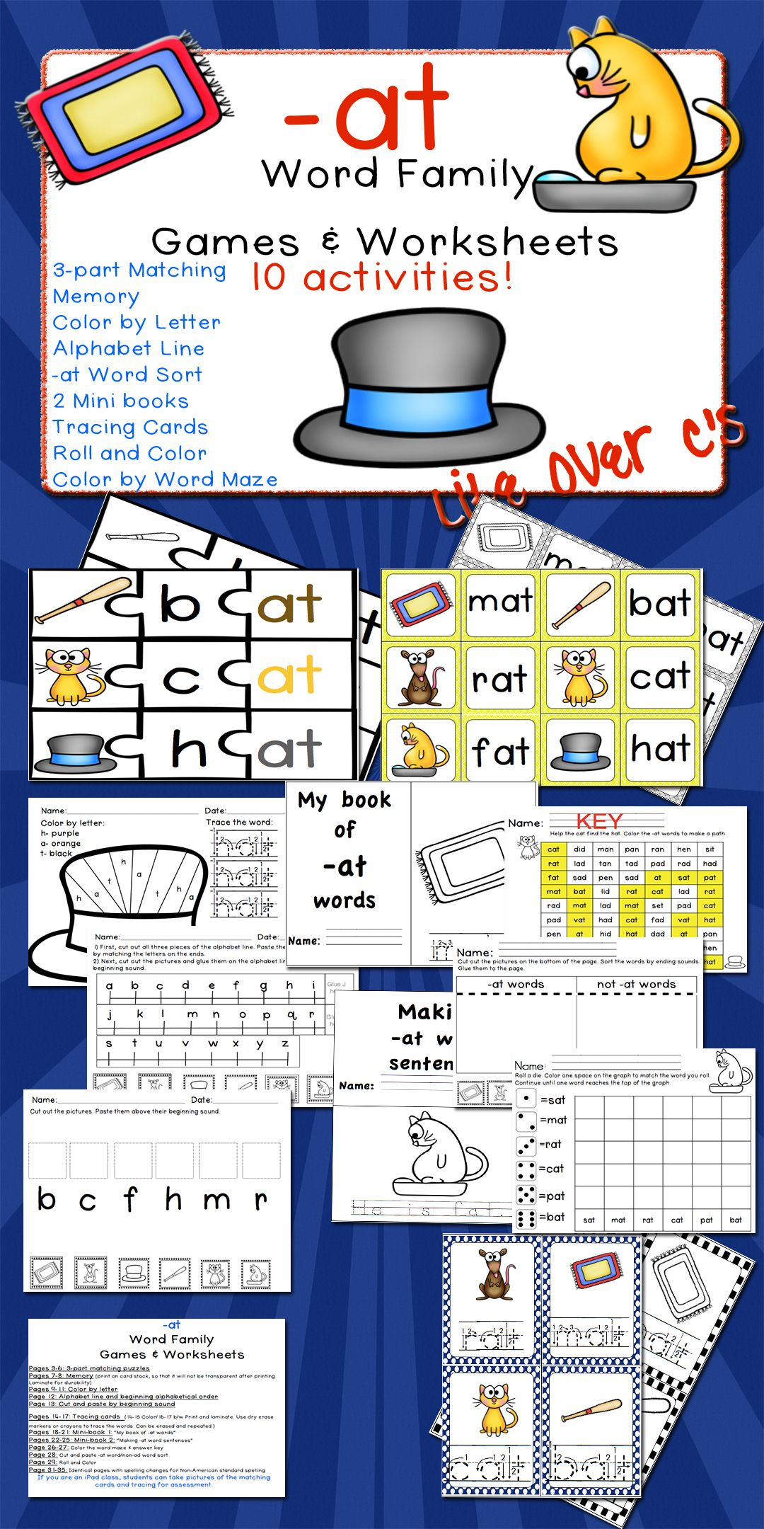 At Word Family Cvc Games Centers And Worksheets Us Uk Versions