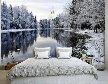 papier peint lacs et neige paysage forestier peint murale. Black Bedroom Furniture Sets. Home Design Ideas