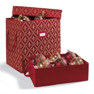 Red Fleur De Lis Ornament Storage Box for 6\