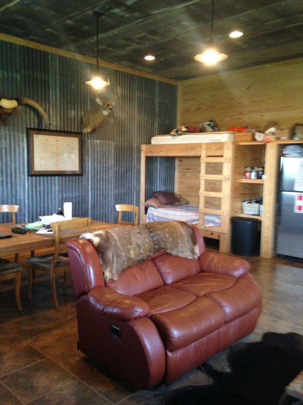 Corrugated Metal Interior Design Rustic Camp House Tongue And Groove Walls Rustic Metal Ceiling