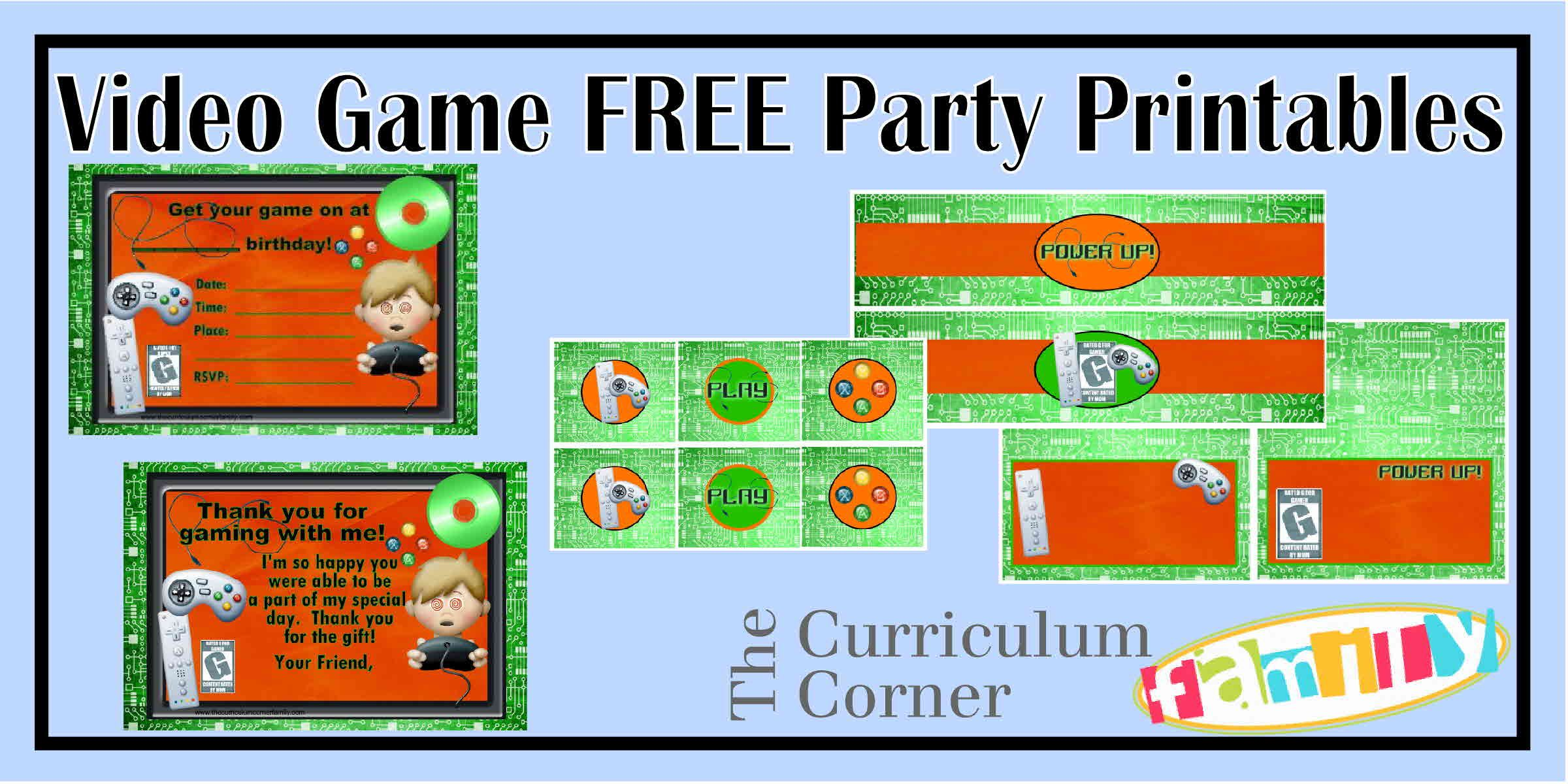 Freebie video game party printables great for a video game truck – Video Game Party Invitation