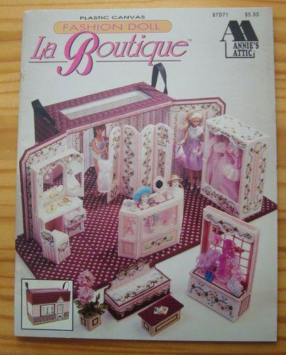 La Boutique Furniture w Carrying Case Barbie Fashion Doll Plastic Canvas Pattern | eBay