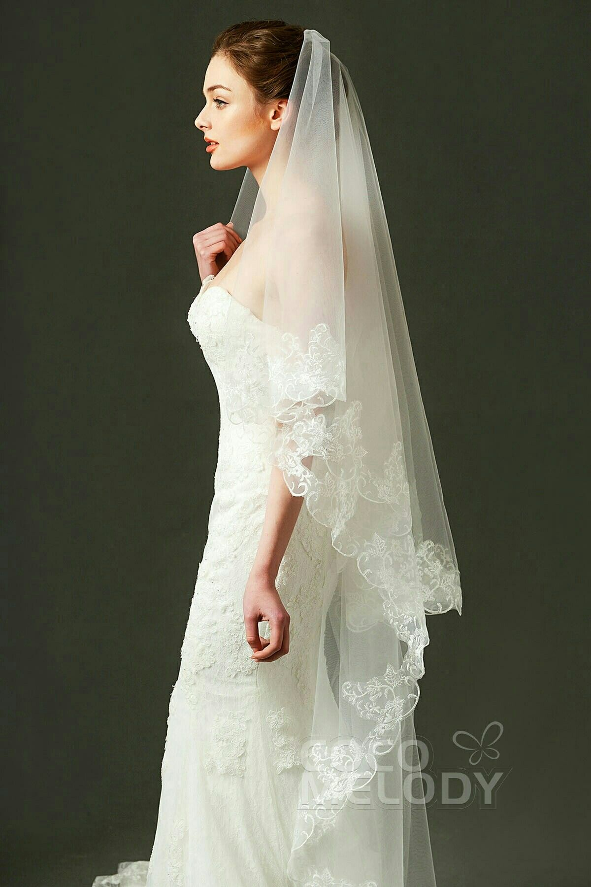 Beautiful Floor Length Veil With Lace Edge Bridal Veilswedding