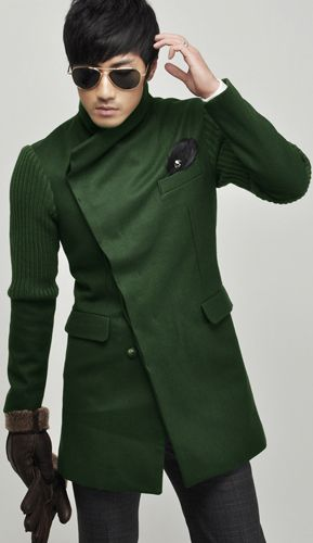 Asymmetrical green coat #Fall | Sharp and Level | Pinterest