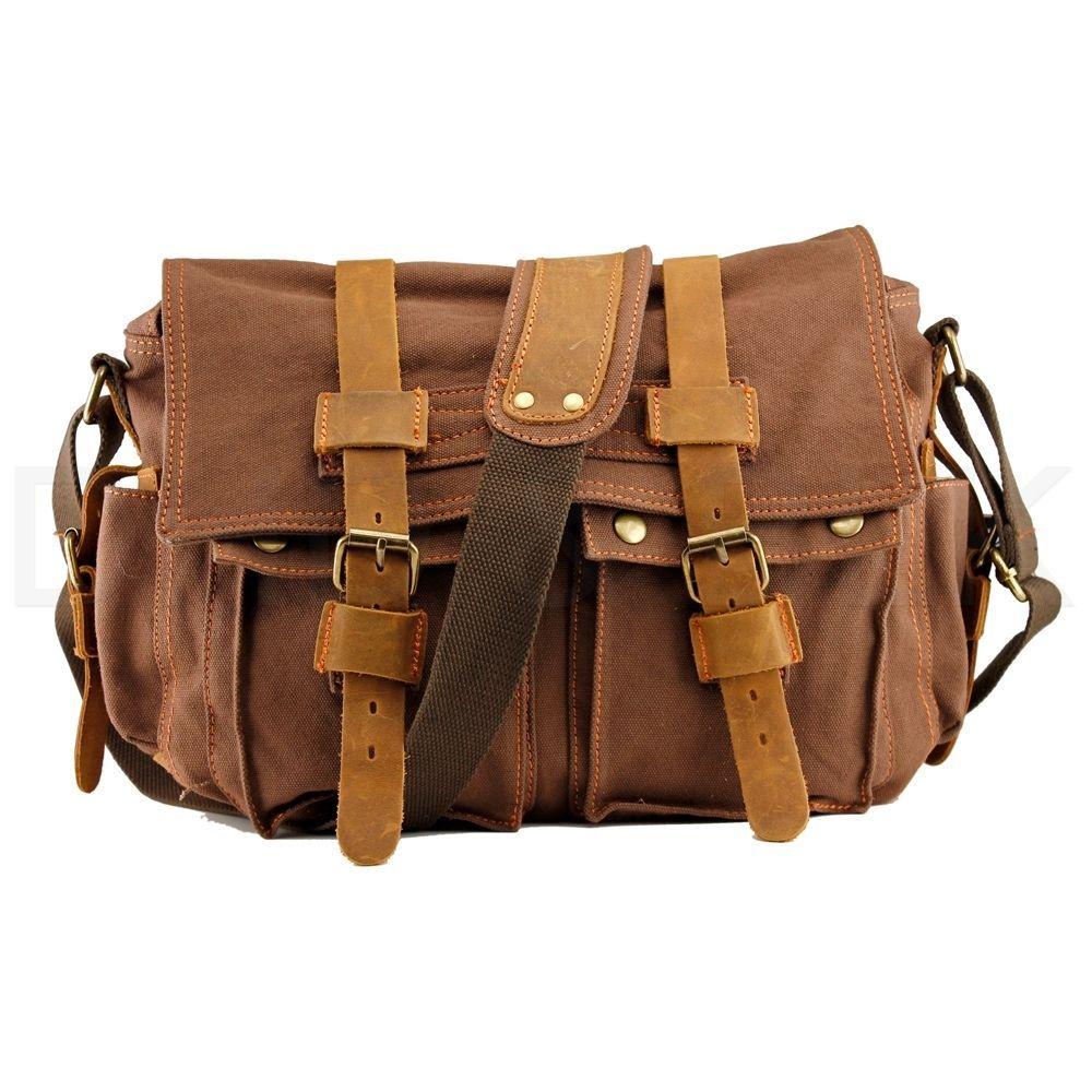 "Men Military Canvas Leather Satchel School 14/"" Laptop Shoulder Messenger Bag US"