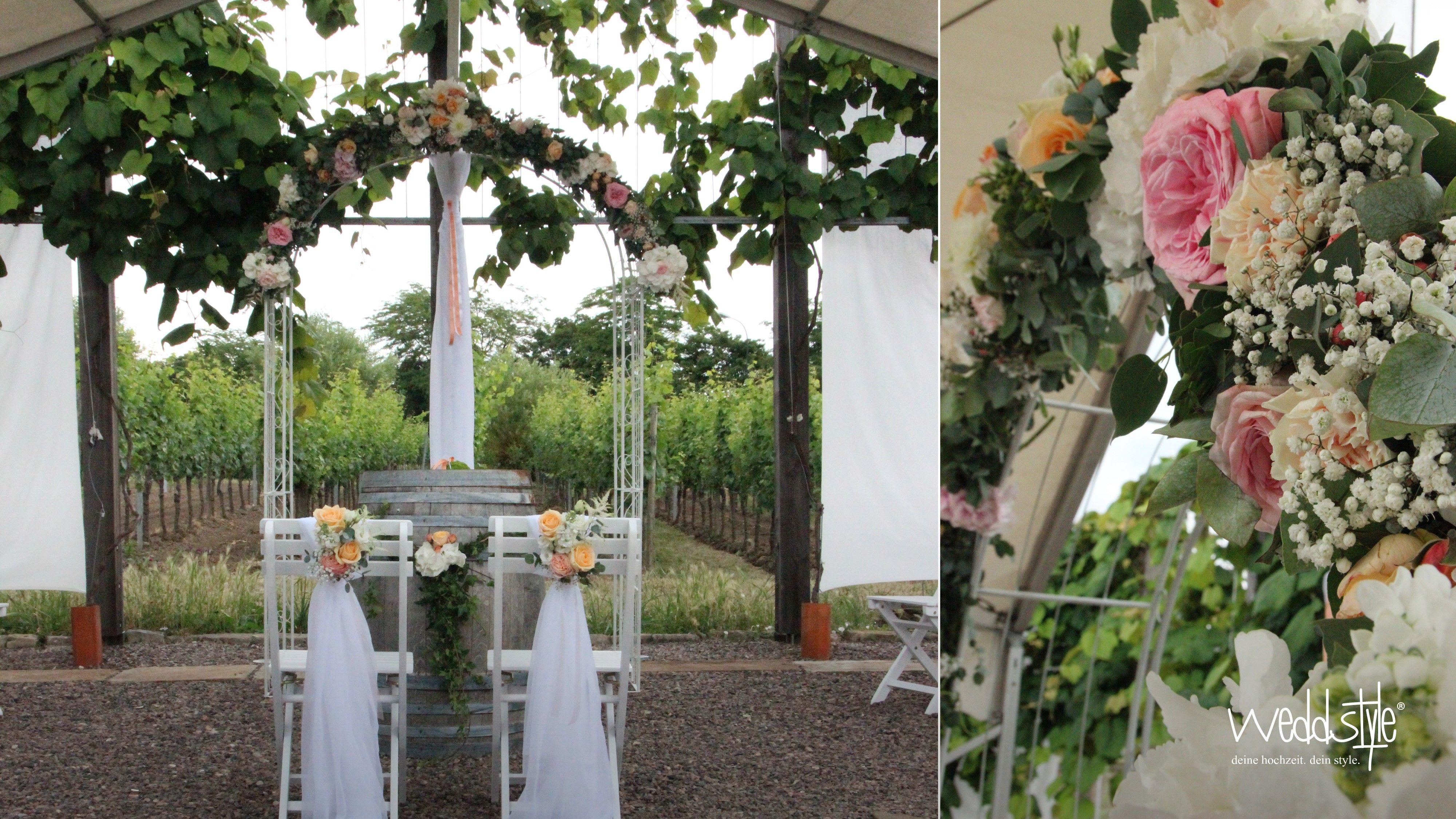 Rosenbogen mit floristik von weddstyle f r freie trauung for Dekoration hochzeit mieten