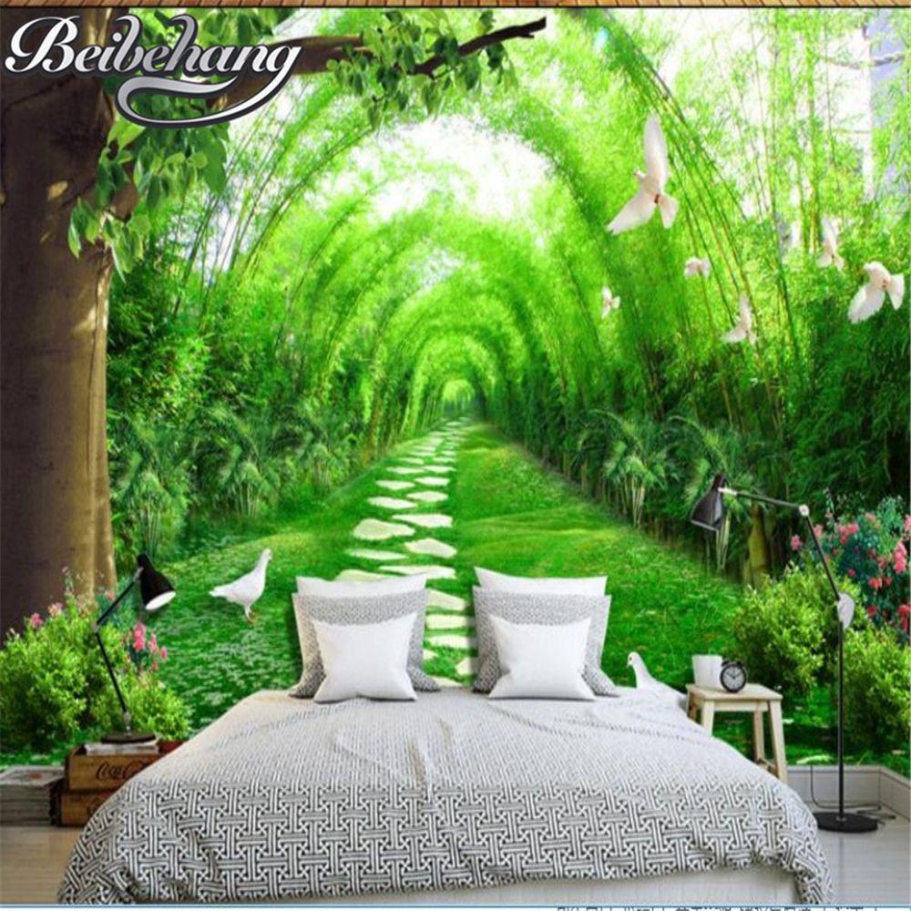 Beibehang 3d wallpaper fresh forest road 3d tv background - Landscape paintings for living room ...
