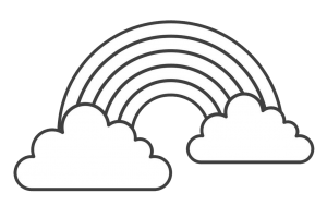 49++ Rainbow with clouds clipart black and white information