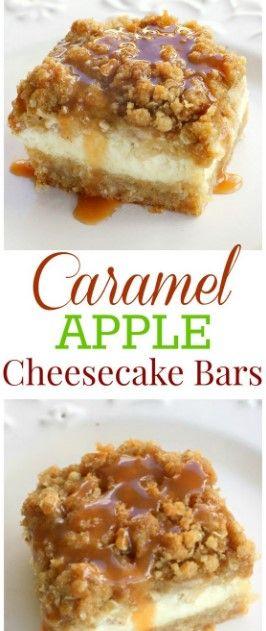 Caramel Apple Cheesecake Bars #caramelapplecheesecake