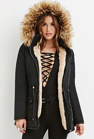 Faux Fur Puffer Jacket | Forever 21 - 2000163578