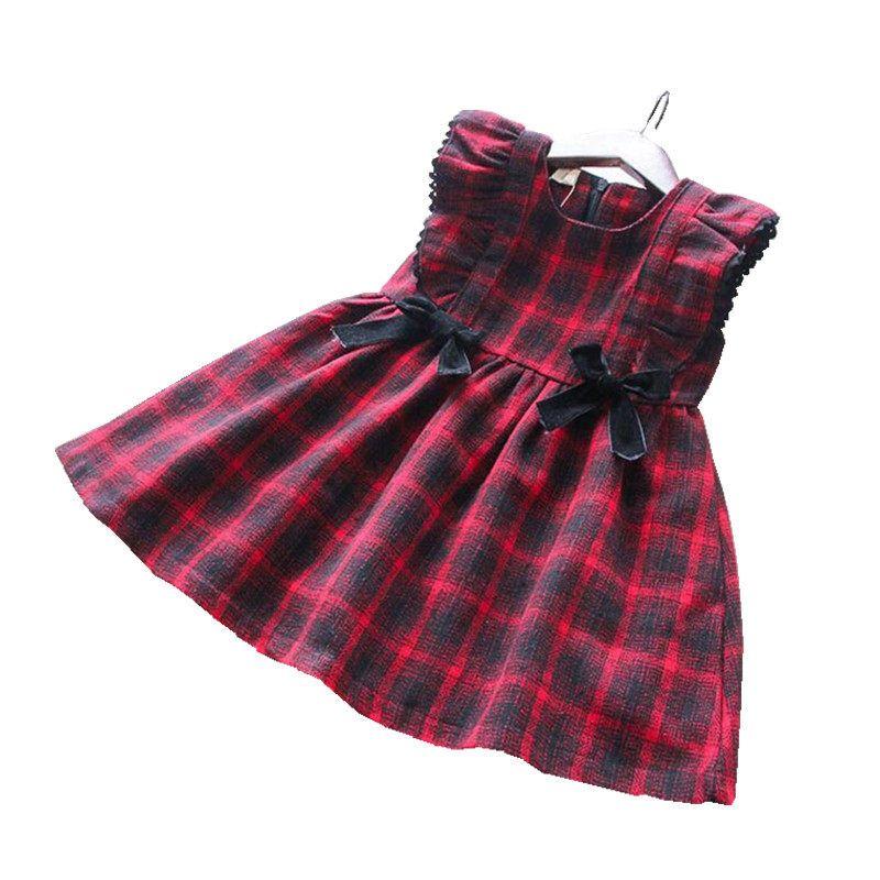 513d71b04 Otoño bebé niña vestido para niñas disfraces rojo a cuadros sin mangas  princesa vestido niños ropa para niñas vestido de Navidad Santa