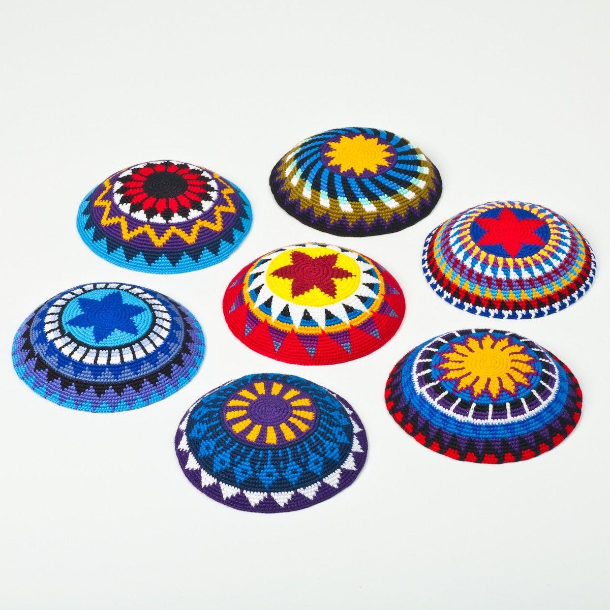 6 Inch Handmade Bright Crocheted Jewish Kippot / Yarmulke